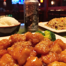 Sesame Chicken, Heady Topper, Pork Friend Rice at Sushi Yoshi in Stowe, Vermont. Photo by Eat Stowe