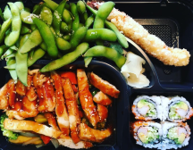 Chicken Teriyaki, California Roll, Edamame, Tempura at Sushi Yoshi in Stowe, VT. Photo by Eat Stowe