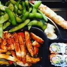 Chicken Teriyaki, California Roll, Edamame, Tempura at Sushi Yoshi in Stowe, VT. Photo by Eat Stowe